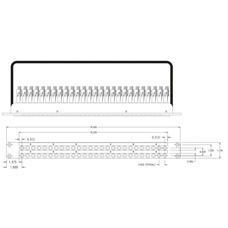 56 Point 1/4 Inch TRS 2 x 26 x 1RU Patch Bay