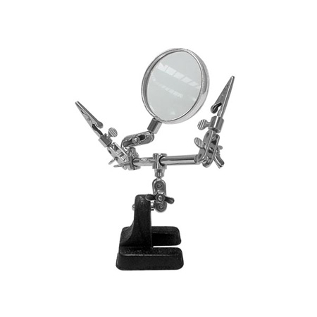Dual Helping Hands Soldering Cable Holder with Magnifier Lens