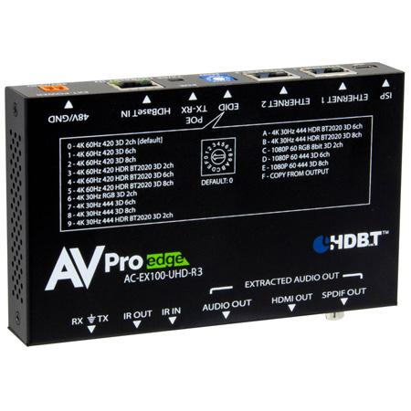 AVPro Edge AC-EX100-UHD-R3 HDBaseT Receiver with IR / RS232 / Ethernet & POH Bi-Directional Power - 100m HD / 70m 4K