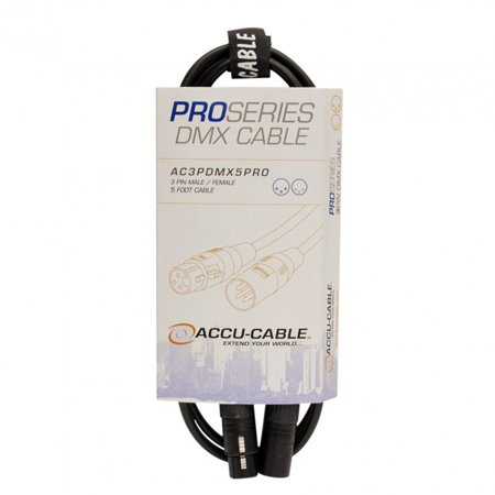 ACCU-CABLE AC3PDMX15PRO 3 Pin Pro DMX Cable - 15 Foot