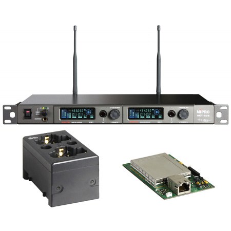 MIPRO ACT-828 DANTE-5F-KIT Dante Dual Channel Dante Enabled Rack Mount Receiver w/ Charging Station 540-604 MHz - Li-Ion