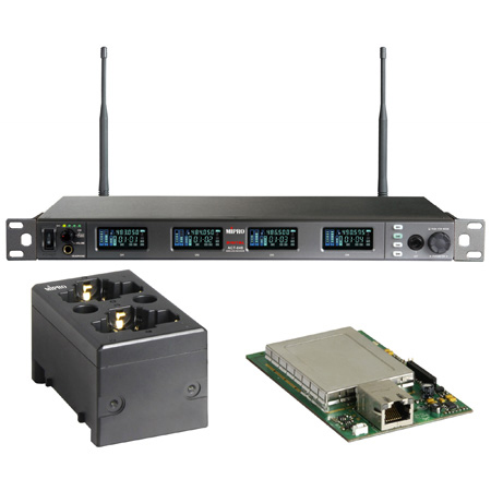 MIPRO ACT-848 DANTE-5F-KIT Dante Four Channel Dante Enabled Rack Mount Receiver with Charging Station 540-604 MHz Li-Ion