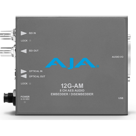 AJA 12G-AM 12G-SDI 8-Channel AES Audio Embedder/Disembedder with SFP Port