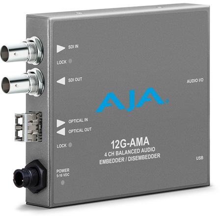 AJA 12G-AMA-R 12G-SDI Mini Converter with 4-Channel Audio Embed/Disembed - LC Fiber Receiver