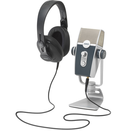 AKG 5122010-00 Podcaster Essentials Audio Production/Voiceover Kit with AKG Lyra USB Microphone and K371 Headphones