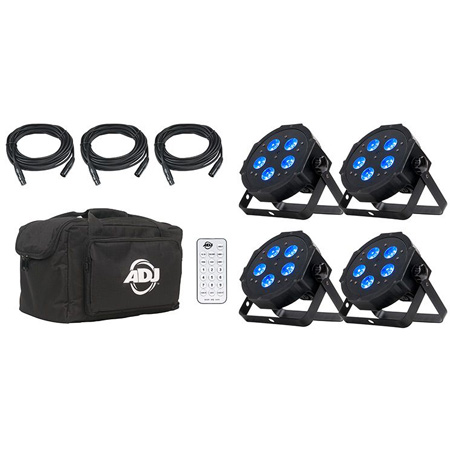 ADJ MEGA FLAT HEX PAK All-in-One up Lighting Kit with Four Mega Hex Par Lighting Fixtures/Power Cables/DMX Cables/Wirele
