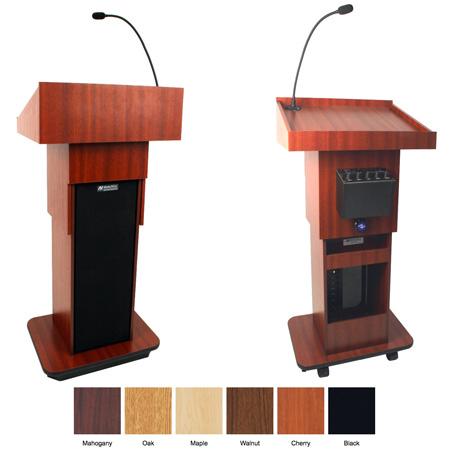 AmpliVox S505a-BK Executive Adjustable Column Lectern - Wired Sound - Black