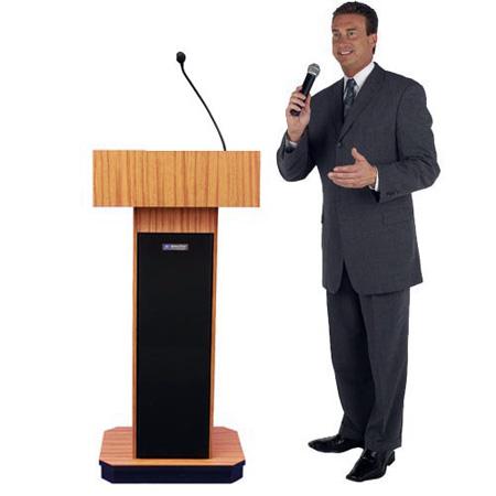 Amplivox S505WT Executive Sound Column Lectern - Walnut