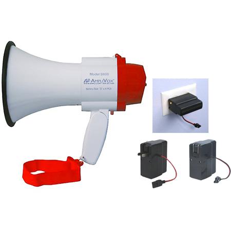AmpliVox SB600R Mini-Meg 10W Megaphone Bundle - Li-Ion