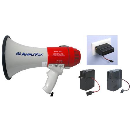 AmpliVox SB601R Mity-Meg 15 Watt Dynamic Megaphone Bundle