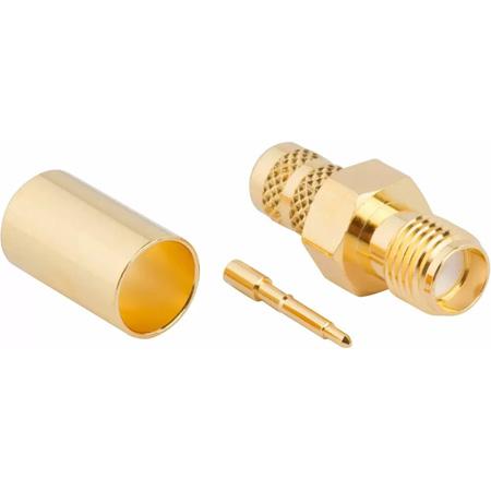 Amphenol 132240RP RF Connector RP-SMA Straight Crimp Jack RG-8X Times LMR-240 Optimized 50 Ohm