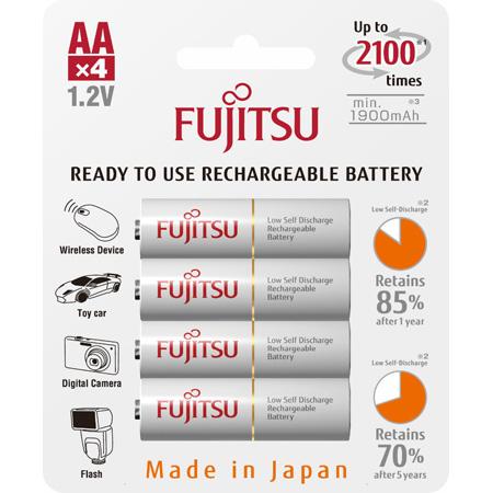 Fujitsu 1312-0013-FJ HR3UTC AA Low Self Discharge 2000 mAH Rechargeable Battery - 4 Pk Blister