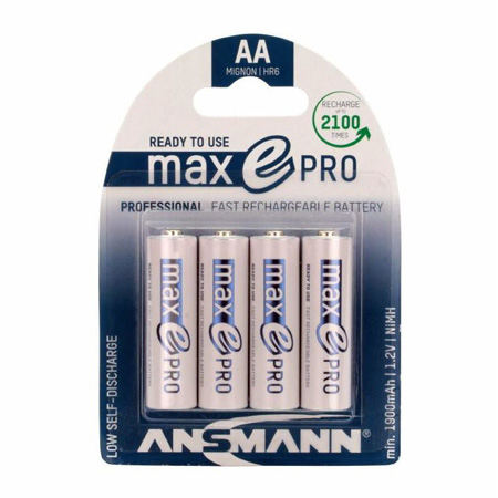 Ansmann 1312-0013 Max E Pro AA Slimline Rechargeable Battery - High Recycle Low Discharge 4-Pack