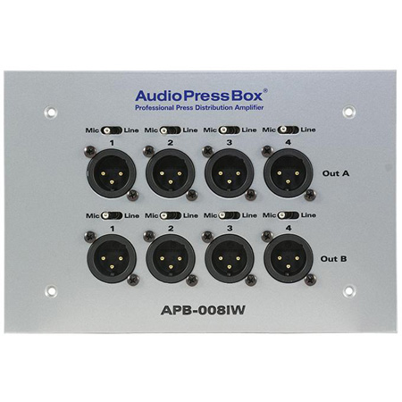 AudioPressBox APB-008-IW-EX In-wall AudioPressBox with 1 Line Input and 8 Mic Outputs