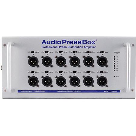 AudioPressBox APB-112-SB-D Portable Active Professional AudioPressBox with 1 Channel Dante Input/12 Line/Mic Outputs