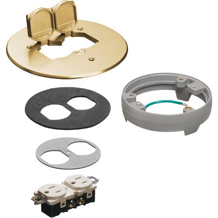 Arlington FLB6230MBLR Flip Lid Style Metal Cover Kit with Leveling Ring & 2 Flip Lids - Brass