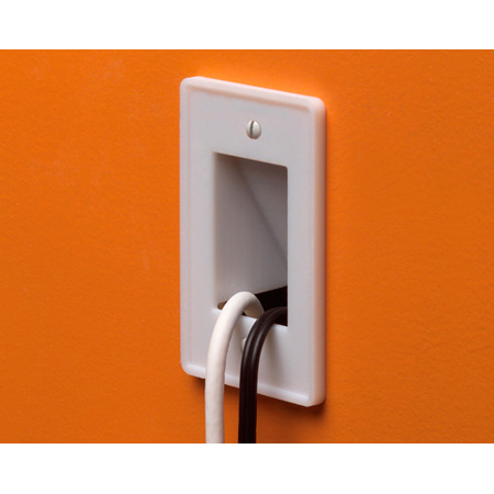 Arlington CE1 Scoop 1-Gang Cable Entrance Wall Plate Pass Through - White