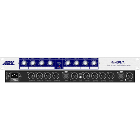 ARX Maxisplit 2 In / 4 Out / 1 In 8 Out XLR Bal Line Splitter