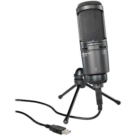 Audio-Technica AT2020USB-Plus Podcast/Voiceover Cardioid Condenser USB Studio Microphone