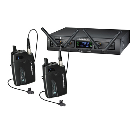 Audio-Technica ATW-1311/L System 10 Pro Rackmount Digital Wireless with 2 Bodypack TXs & 2 RXs & 2 Lav Mics