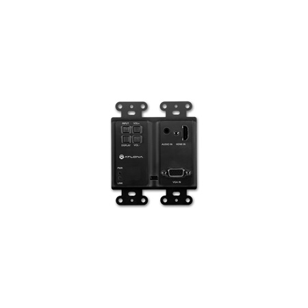 Atlona AT-HDVS-200-TX-WP-BLK Two-Input Wall Plate Switcher for HDMI and VGA with Ethernet-Enabled HDBaseT Output - Black