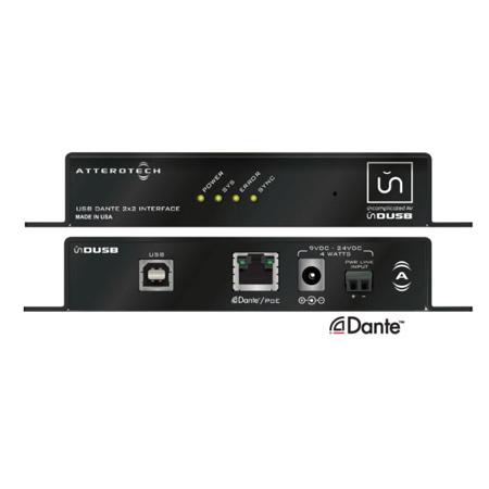 Attero Tech unDUSB 2x2 Channel Dante to USB Bridge - PoE or 12VDC