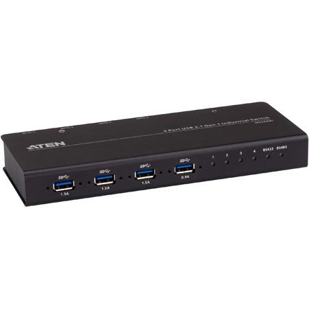 ATEN US3344I 4x4 USB 3.1 Gen 1 Industrial Hub Switch - USB Type B - 4 USB Port(s)