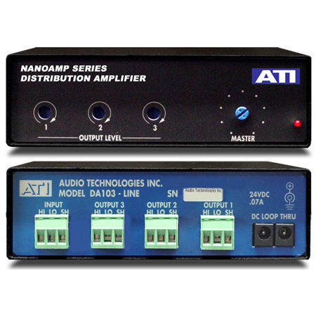 ATI DA103 1X3 Distribution Amp w/Plus-22dBm Servo Balanced Outputs