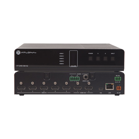 Atlona AT-UHD-SW-52 4K/UHD 5 Input HDMI Switcher with Mirrored HDMI Outputs