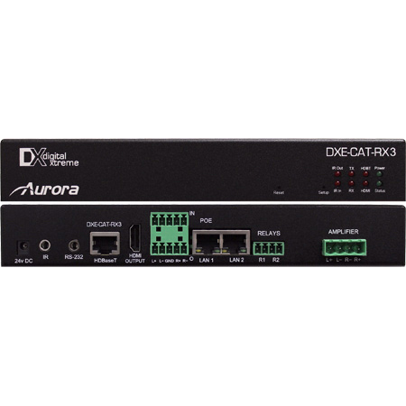 Aurora DXE-CAT-RX3-A HDBaseT Receiver 330/600 Ft. with Dual Relay & Audio Line In/Out & 2x35W Amp
