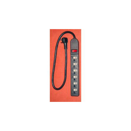 AVB LTS-6H 6 Outlet Strip with Short Cord - Black