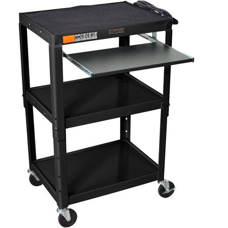 Luxor AVJ42KB Adjustable Height Mobile AV Table Black