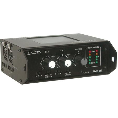 Azden FMX-22 Professional Portable Mixer with 2 XLR Inputs/2 XLR Outputs & Mini-Plug Output/Adjustable Input Level