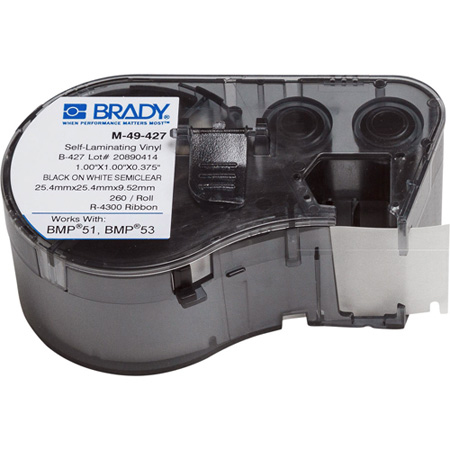 Brady M-49-427 BMP51/BMP53/BMP41 Label Maker Cartridge - 1x1 Inch 260 Labels