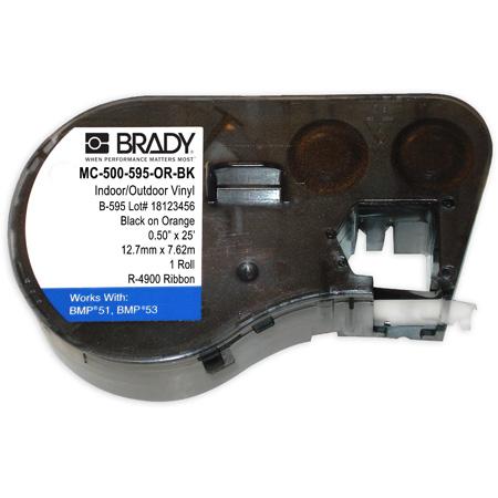 Brady MC-500-595-OR-BK BMP51 BMP53 BMP41 Indoor/Outdoor Vinyl Labels - 1/2 Inch x 25 Foot