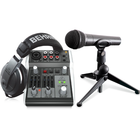 Behringer PODCASTUDIO 2 USB Complete Podcast Bundle with USB Mixer / Microphone / Headphones and More