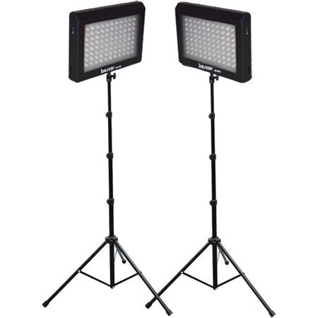 Bescor LED-95DK2 Dual 95 Watt 6500K Daylight Balanced Dimmable LED Video Light Fixtures & Stands