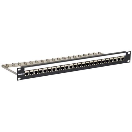 Bittree DSKP124B-C6FS 1RU 1X24 CAT6 RJ45/RJ45 Shielded DES Patch Panel with Tie Bar - Black