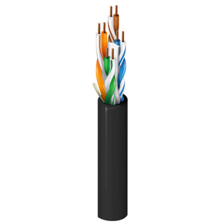 Belden 2413 23AWG Enhanced Category 6 Nonbonded-Pair Cable - Black - 1000 Foot - Unreeled