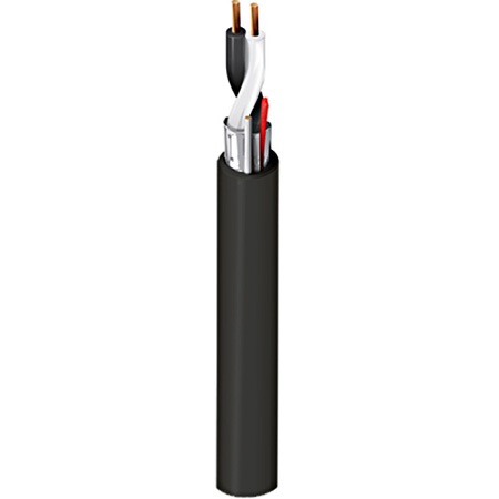 Belden 6500FE 2 Conductor 22AWG Plenum Shielded Security and Alarm Cable - Black - 500 Foot