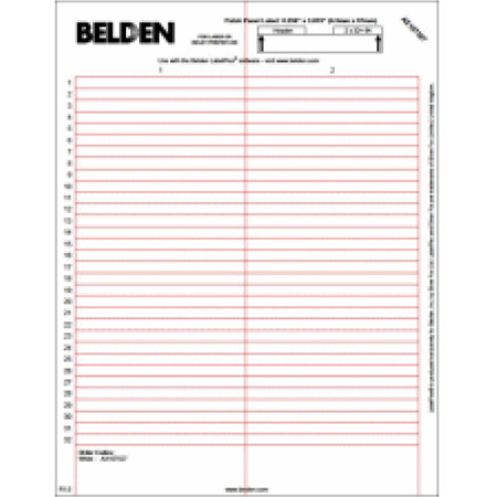 Belden AX107527 LabelFlex for REVConnect Patch Panels - White - 64 Labels / Sheet & 10 Sheets / Pack