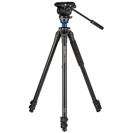 Benro A2573F Aluminum Single Video Tripod with S4 PRO Flat Base Fluid Video Head