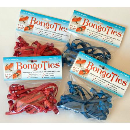BongoTies Handy Elastic Tie-Wraps 10 Pack Red