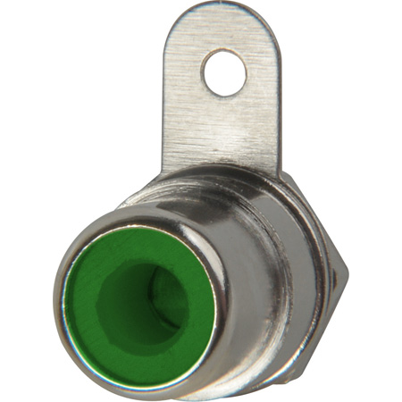 Switchcraft BPJF06X RCA Panel Mount Jack Connector - Front Mount - Green Insulator