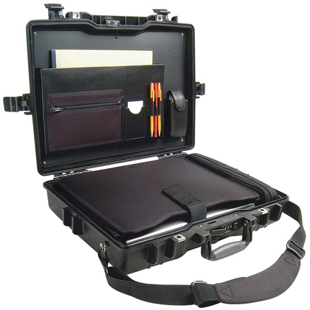 Pelican 1495CC1 Protector Laptop Case with Foam and Lid Organizer - Black