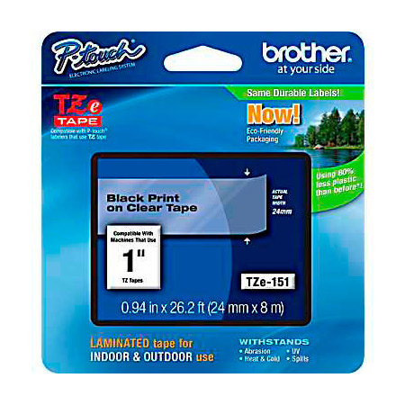 Brother TZe151 0.94in x 26.2 ft (24mm x 8 m) Black on Clear