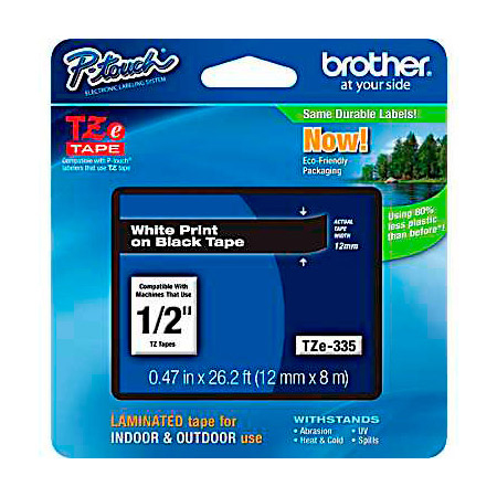 Brother TZE335 Standard Adhesive Laminated Tape 0.47in x 26.2 ft (12mm x 8m) White on Black
