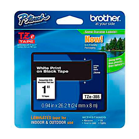 Brother TZe355 0.94in x 26.2 ft (24mm x 8 m) White on Black