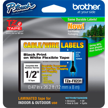 Brother TZeFX231 0.47in x 26.2 ft (12mm x 8m) Black on White Flexible ID