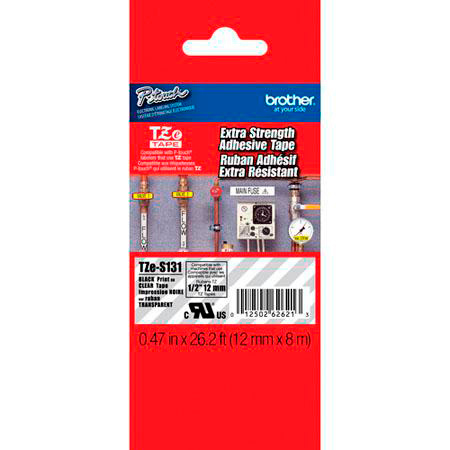 Brother TZeS131 0.47in x 26.2 ft (12mm x 8m) Black on Clear Extra-Strength